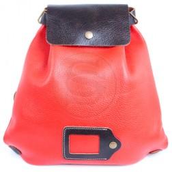 Кожаный рюкзак Military (красный)